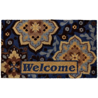 "22-Inch x 36-Inch ""Welcome"" Vinyl-Backed Coir Door Mat in Blue"