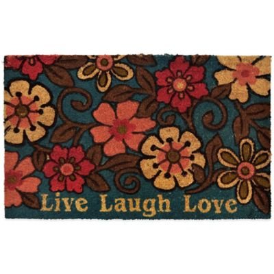 "22-Inch x 36-Inch ""Live Laugh Love"" Vinyl-Backed Coir Door Mat in Floral"