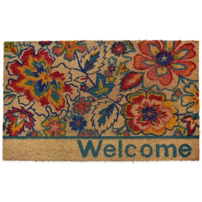 "22-Inch x 36-Inch ""Welcome"" Flower Viinyl-Backed Coir Door Mat"
