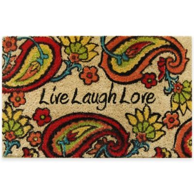 "22-Inch x 36-Inch ""Live Laugh Love"" Vinyl-Backed Coir Door Mat"