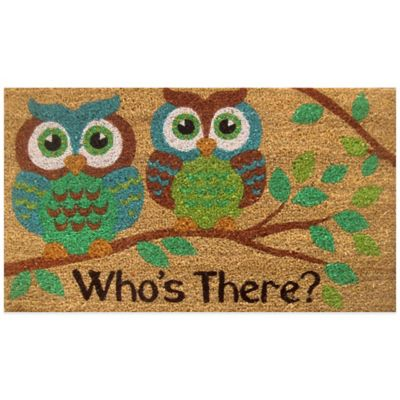 "Fiesta® 22-Inch x 36-Inch ""Who's There?"" Vinyl-Backed Coir Door Mat in Green"