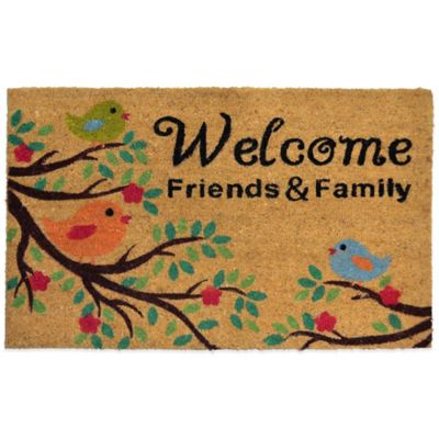 "Fiesta® 22-Inch x 36-Inch ""Welcome Friends & Family"" Vinyl-Backed Coir Door Mat in Beige"