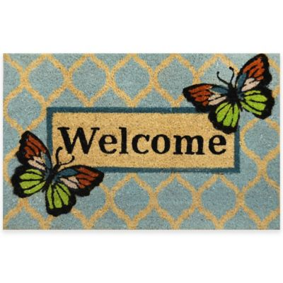 22-Inch x 36-Inch Vinyl-Backed Coir Door Mat in Blue