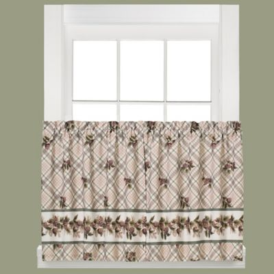 Pinecone Plaid 24-Inch Window Curtain Tier Pair