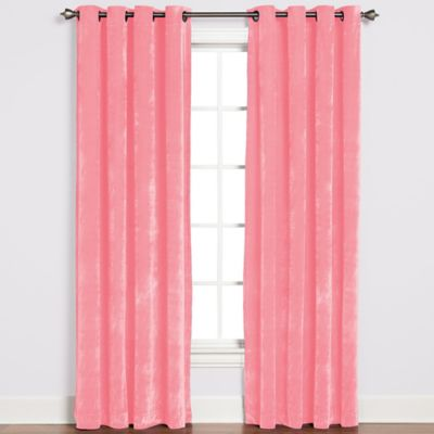 Plush Grommet Top 84-Inch Window Curtain Panel in Pink