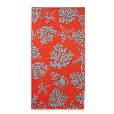 Coral Yarn Dyed Jacquard Velour Beach Towel in Coral