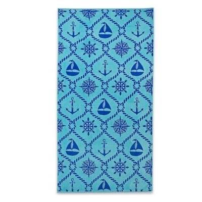 Sailors Knot Yarn Dyed Jacquard Velour Beach Towel in Navy
