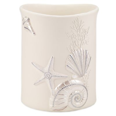 Avanti Sequin Shell Wastebasket in Ivory