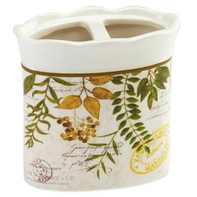 Avanti Foliage Garden Toothbrush Holder in Ivory