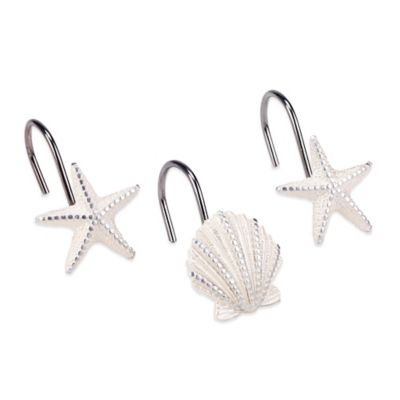 Avanti Sequin Shell Shower Curtain Hooks in Ivory