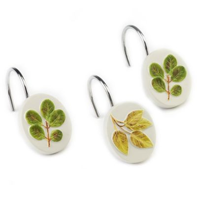 Avanti Foliage Garden Shower Curtain Hooks in Ivory (Set of 12)