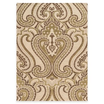 Bombay Chenille Tapis 5-Foot x 7-Foot Camb Lyre Rug in Ivory