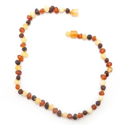 Healing Hazel Baltic Amber 10.5-Inch Baby Necklace in Raw Brown Multi
