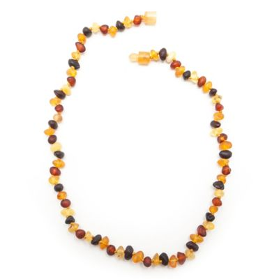Healing Hazel Baltic Amber 12-Inch Children's Necklace in Raw Brown Multi