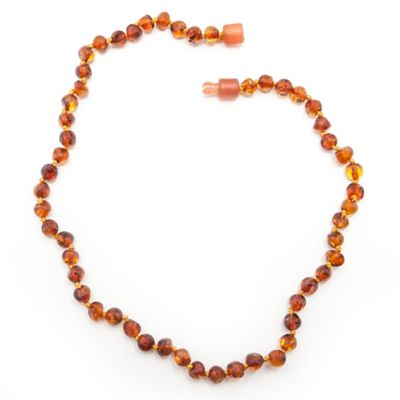 Healing Hazel Baltic Amber 12-Inch Children's Necklace in Polished Cognac