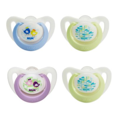 NUK® 0-2M 4-Pack Orthodontic Pacifiers in Purple/Green