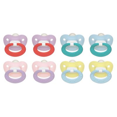 NUK® 0-6M 4-Pack Orthodontic Silicone Pacifiers in Pink/Purple