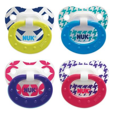 NUK® Fashion Patterns 0-6M 4-Pack Orthodontic Pacifiers in Blue/Green