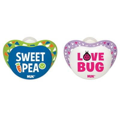 "NUK® Small Talk ""Sweet Pea"" and ""Love Bug"" 0-6M 2-Pack Orthodontic Pacifiers"