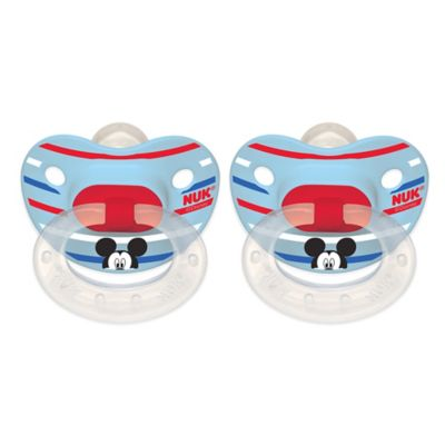 NUK® Disney® Mickey Mouse 6-18M 2-Pack Orthodontic Pacifiers in White/Blue Multi