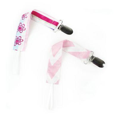 Bumkins® 2-Pack Pacifier Clips in Pink