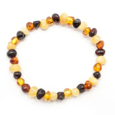Healing Hazel Baltic Amber Baby Ankle Bracelet in Polished Brown Multi