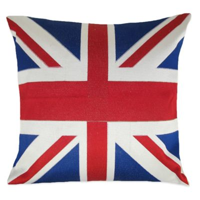 British Flag Embroidered Square Throw Pillow
