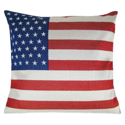 American Flag Embroidered Square Throw Pillow