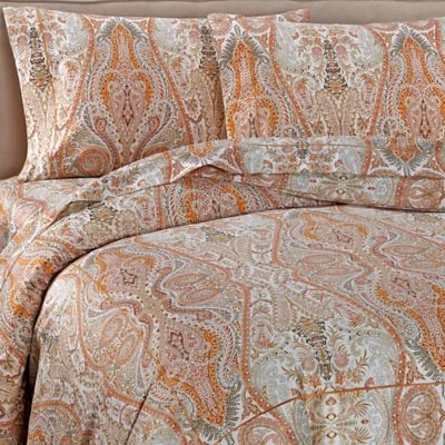 Bellino Fine Linens® Paisley Queen Duvet Cover in Orange