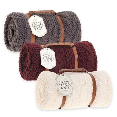 Berkshire Blanket® Cozy Cable Knit Throw in Berry