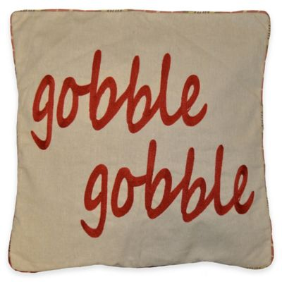 Gobble Gobble Square Throw Pillow in Natural