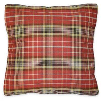 Harvest Plaid Square Throw Pillow in Rust