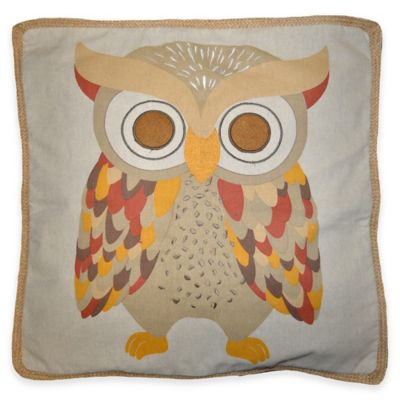 Ollie Owl 18-Inch Square Throw Pillow in Natural