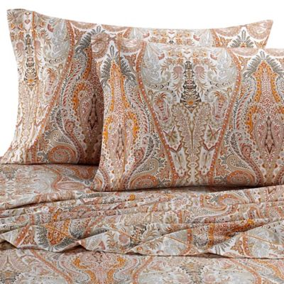 Bellino Fine Linens® Paisley King Sheet Set in Orange