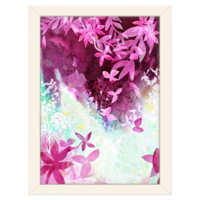 Americanflat Urban Road Collection Falling Leaves Fuchsia Framed Art Work
