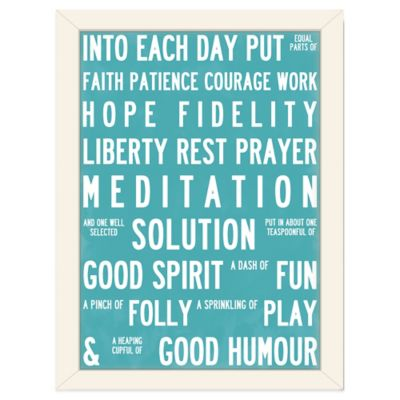 Americanflat Urban Road Collection Recipe for Life Framed Art Work in Aqua