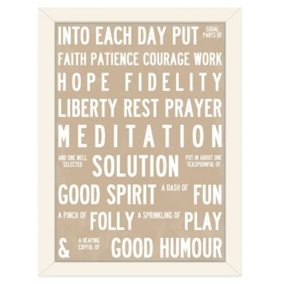 Americanflat Urban Road Collection Recipe for Life Framed Art Work in Latte
