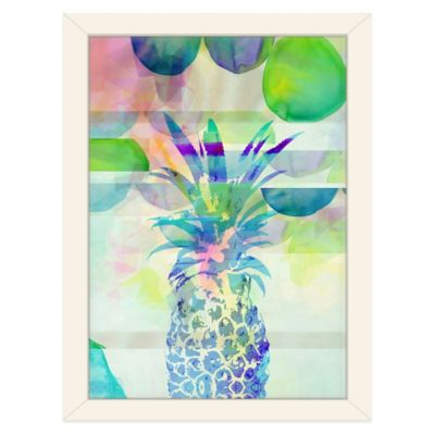 Americanflat Urban Road Collection Pineapple Blue Framed Art Work