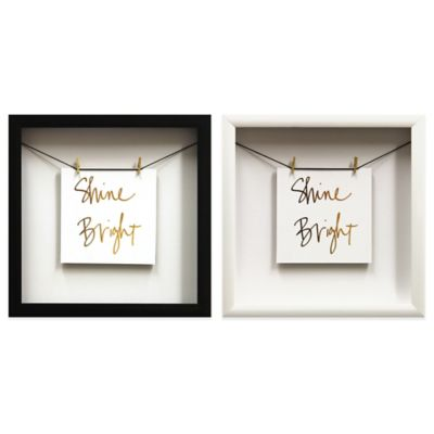 """Shine"" Gold Foil Wall Décor with Black Frame"