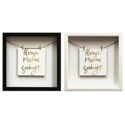 """Always Kiss"" Gold Foil Wall Décor with Black Frame"