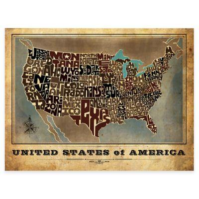 Framed Vintage USA Map