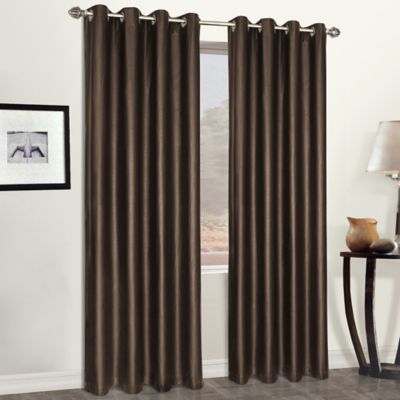 Faux Leather 95-Inch Window Curtain Panel in Black