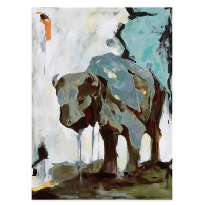 Brooke Tangney Watercolor Buffalo Printed Canvas Wall Art with Gel Coat