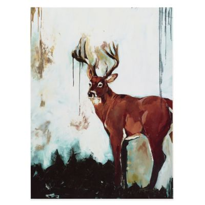 Brooke Tangney Watercolor Stag Printed Canvas Wall Art with Gel Coat