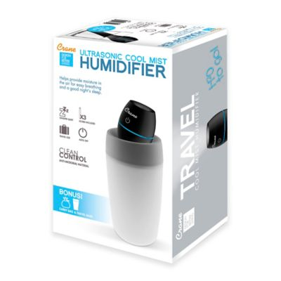 Crane Ultrasonic Cool Mist Travel Humidifier in Black