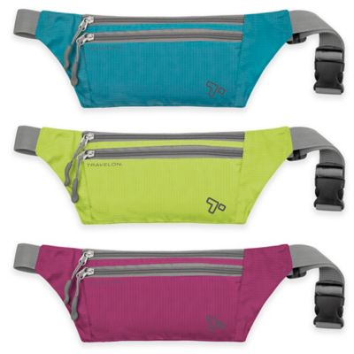 Travelon® 8.5-Inch Double Zip Waist Pack in Aqua
