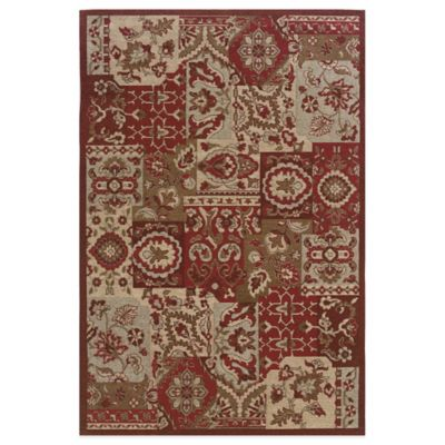 Bombay® Chenille Tapis 2-Foot x 8-Foot Patchwork Runner in Dark Red