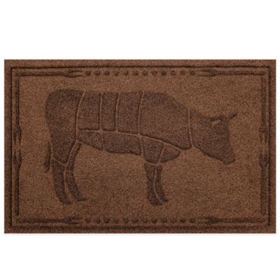 Weather Guard™23-Inch x 35-Inch Cow BBQ Mat in Dark Brown
