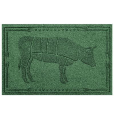 Weather Guard™ 23-Inch x 35-Inch Cow BBQ Mat in Light Green