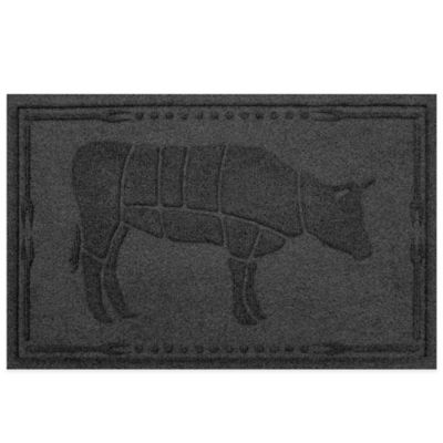 Weather Guard™23-Inch x 35-Inch Cow BBQ Mat in Charcoal